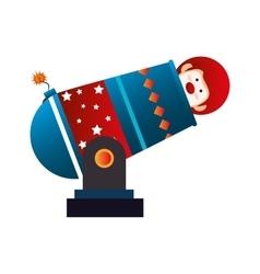Clown cannon circus icon vector image