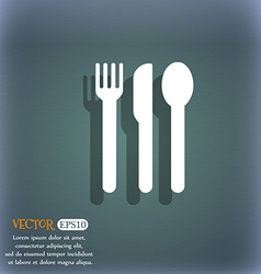 fork knife spoon icon symbol on the blue-green vector image vector image