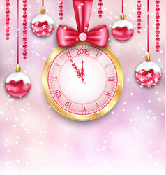 new year background with christmas balls and clock vector image