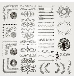 Set of Decorative Hand Drawn Design vector image