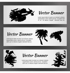 Set of Three White Banners with Inkblots vector image vector image