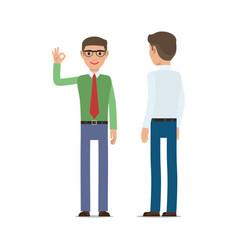 businessmen showing ok gesture flat vector image