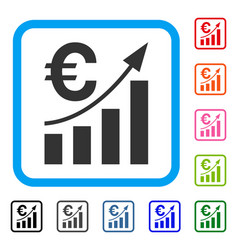 euro bar chart trend framed icon vector image vector image