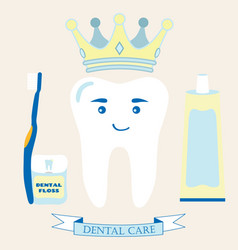 Tooth in the crown toothbrush toothpaste dental vector