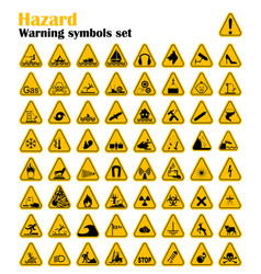warning hazard triangle signs set vector image vector image