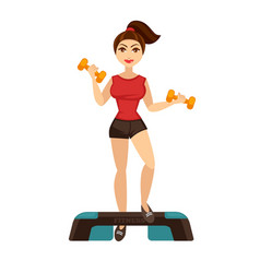 cheerful woman doing fitness vector image vector image