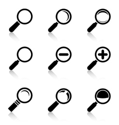 Magnifier Glass Icons with reflection vector image