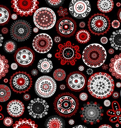 Seamless with doodle flowers over black background vector image vector image