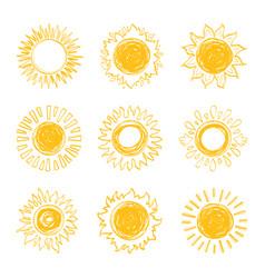 sun icons collection sunshine symbols hand drawn vector image vector image
