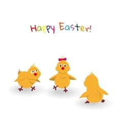 Three easter cartoon chicken on white background vector image