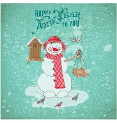 Christmas Card - Snowman and Birds vector image vector image