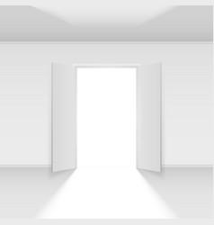 Double open door with light on empty background vector