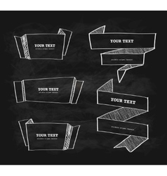 hand-drawn origami banner chalkboard vector image vector image