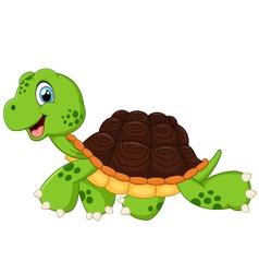 Happy turtle walking vector image vector image