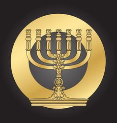 jewish menorah candlestick elegant greeting card vector image