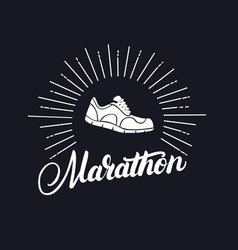 marathon hand written lettering with running shoes vector image