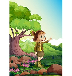 A female explorer at the rocky forest vector