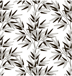 Black seamless pattern with drawn bamboo vector