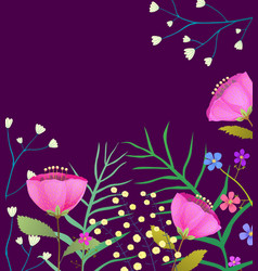 blooming wildflowers flat frame on dark vector image