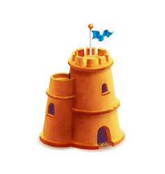 bright cute sand castle with blue flag on white vector image