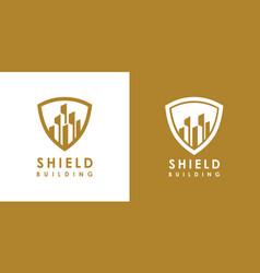 building shield logo design vector image