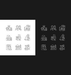 Business development linear icons set for dark vector