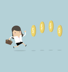 businesswoman chasing coins video game style vector image