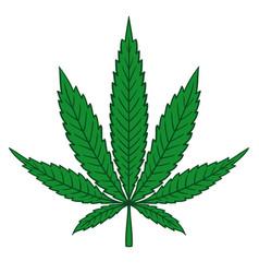 cannabis marijuana leaf in flat vintage style vector image