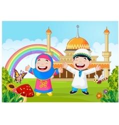Cartoon happy little kid with rainbow vector