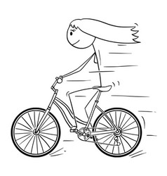 Cartoon of woman or girl riding on bicycle vector