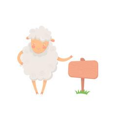 cartoon sheep character standing near wooden vector image