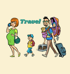 caucasian family travelers mom dad and kids vector image