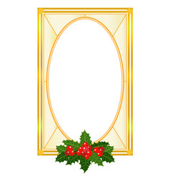 Christmas golden frame card with holly leaves vector