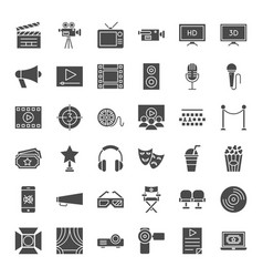 Cinema solid web icons vector