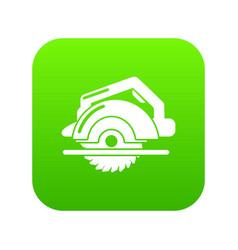 circular saw icon green vector image