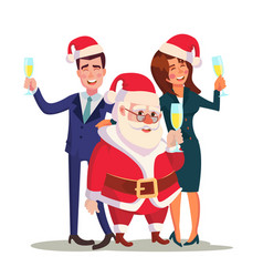 corporate christmas party man woman and vector image