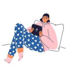 Cozy home style girl with tablet vector