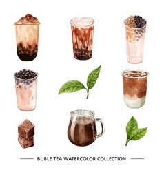 Creative bubble tea watercolor design for vector