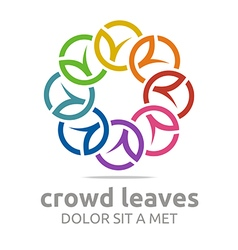 Crowd leaves ecology floral design vector