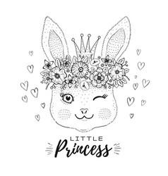 Cute kawaii bunny rabbit face in princess crown vector