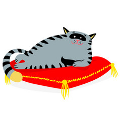 Cute smiling cat lying on the red pillow lazy vector