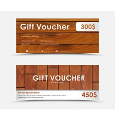Design gift voucher with different wood texture vector