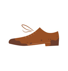 Dirty shoes unclean boot isolated vector