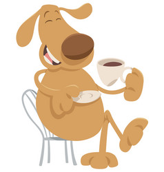 Dog drinking coffee cartoon vector