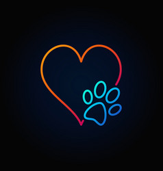 Dog paw with heart outline icon vector