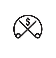 Dollar decrease icon money rising drop fall down vector