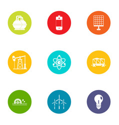 Energy of the past icons set flat style vector