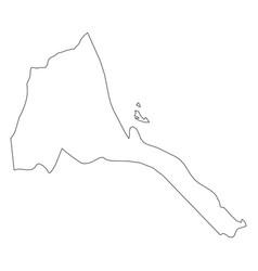 eritrea - solid black outline border map of vector image