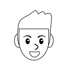 Face male avatar smile outline vector