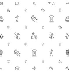 family icons pattern seamless white background vector image